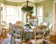 Architecture: Luxurious The Color Sage Green On The Dining Room Wall Combined With Pine Leaves Pendant Lamp Over The Dining Table With Eclectic Tablecloth Completed With Antique Chairs And Wooden Floor, Sage Green Wall, Color Sage Green ~ Bsuccessnetwork.com
