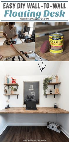 DIY Floating Wall-to-Wall Desk | DIY Floating Desk | DIY Wall-to-Wall Desk | Simple DIY Desk | How to make a sturdy wall-to-wall desk easily | DIY wood desk | How to make a floating desk - the easy way | The easiest way to apply stain | The best stain applicator | The best poly applicator | How to apply poly quickly and perfectly | #TheNavagePatch #DIY #SimpleDIY #easyDIY #floatingdesk #HowTo #Repurposed #Upcycle #Farmhouse #Homeoffice #DIYFurniture | TheNavagePatch.com Diy Home Decor Projects, Diy Home Crafts, Cool Diy Projects, Decor Crafts, Project Ideas, Decor Ideas, Diy Wood Desk, Diy Desk, Floating Desk
