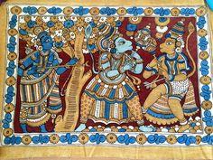 Vintage Batik Temple Painting - The Death of Vali (Ramayana)  - Vintage South Indian Handpainting - Vintage Art - Unique Batik Wall Panel by LaveroArt on Etsy
