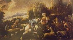 ANTONIO STOM ( active in Venice in '700). HUNTING SCENE. oil on canvas. 84 × 112 cm. Finarte. Milan. Olds Paintings. 16/ 05/ 2001. Lot 147. Estimate: 17.500 - 22.500 €.