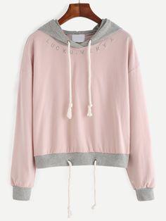 Pink Embroidered Contrast Trim Drawstring Hooded Sweatshirt