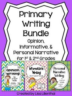 This bundle of three primary writing packets meets Common Core Standards for 1st & 2nd grades. The informative, personal narrative, and opinion writing projects are filled with fun and engaging activities!