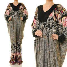 Floral Dubai Kaftan Jersey Long Sleeves Abaya by Tailored2Modesty