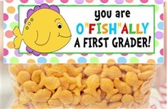 Fish Officially Favor Bag Toppers - A great end of the school year, graduation or teacher thank you gift.  Check our all our designs at http://www.customwrappers4u.com/SearchResults.asp?Search=tt000