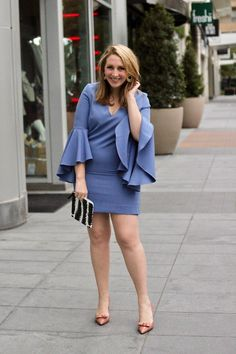 Milly Blue Italian Nicole Dress + Ann Taylor Charlie Patent Bow Pumps