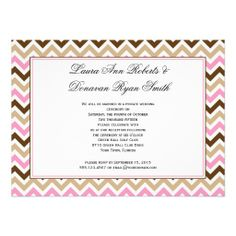 Pink Tan Brown Chevron Reception Only Post Wedding