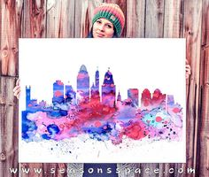 Cincinnati Ohio City Skyline Art Print by WatercolorBook on Etsy