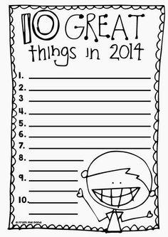 10 Great Things in 2014 Free Printable