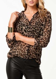 Chic Leopard Long Sleeve Shirt with Turndown Collar
