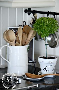 FARMHOUSE KITCHEN -spoons in white pitcher-stonegabl...