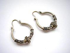 Silver tone metal hoop hindu style earrings by badgestuff on Etsy, $5.00