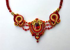 Ruby Red Soutache Necklace OOAK by ZinaDesignJewelry on Etsy, $150.00
