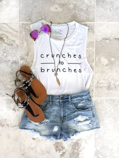 Crunches To Brunches Boyfriend Tank // High-Waisted Shorts // Tinted Aviators // Strappy Sandals // Feather Necklace shop now at www.minttheory.com #crunchestobrunches #minttheory #athleisure