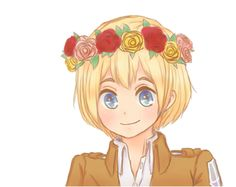 Armin <3 CUTE! I have noticed a tendency for fan artists to draw these characters in flower crowns and such. Maybe because we want them to be happy? xD
