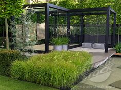 Stock Photo #4287-2786, Pleached hornbeam hedge encloses glass conservatory. LH: weeping pear. Pots of Libertia grandiflora and bed of carex grass with Mathiasella bupleuroides. Water creek.
