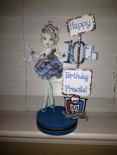 Monster High Frankie Stein Personalined Birthday Party Centerpiece | SerendipityCelebrations - Seasonal on ArtFire