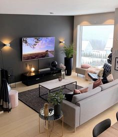 13 Best Modern Living Room Inspirations From a simple living room decor to elaborated lighting and p Simple Living Room Decor, Living Room Tv, Apartment Living, Home And Living, Living Room Interior, Small Living Room Ideas With Tv, Cozy Living, Interior Design For Small Living Room, Studio Apartment