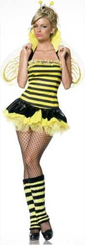 Queen Bumble Bee Yellow and Black Adult Costume Brand By Leg Avenue