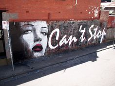 Street art : Mural 'Can't stop' painted by the artists Rone and Wonderlust in Collingwood.