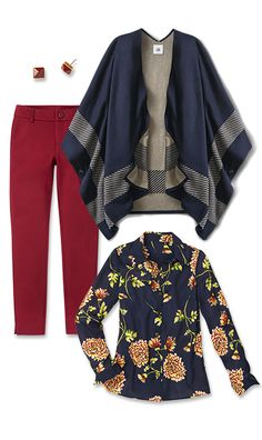 Check out five unique ways to mix and match the Reversible Wrap Sweater with other cabi items!