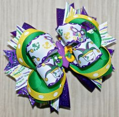 Mardi Gras Fat Tuesday Carnival Boutique Hair Bow by JadyBugBows, $8.99