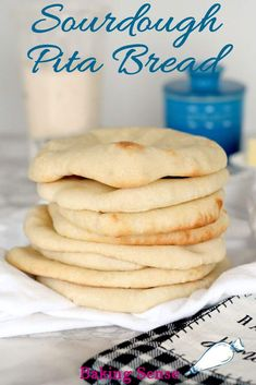 Sourdough Pita Bread is actually quite easy to make. Using sourdough starter instead of yeast extends the time, but it's mostly hands-off. The payoff is a big boost in flavor and an amazing texture. #homemade #no yeast #best #from scratch #recipe #easy
