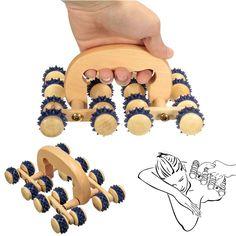 1pcs 16 Wooden Roller Rolling Ball Wheel Massager Back Body Relax Massage Tool