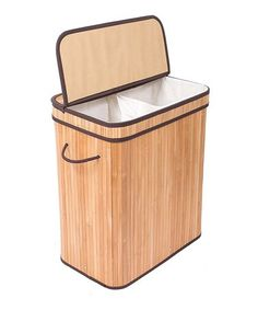 This Natural Divided Collapsible Bamboo Laundry Hamper is perfect! #zulilyfinds