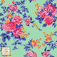"""Pink Coral Floral on Aqua Green Cotton Jersey Blend Knit Fabric - A Girl Charlee Collection Exclusive!  Amazing colors of pink, coral, violet blue, buttercup yellow flowers and roses on a gorgeous minty aqua green color background cotton jersey blend knit.  Fabric has a very smooth hand, good stretch, and is light to mid weight.  Largest rose flower measures 1 1/8"""".  A versatile fabric perfect for many uses.  Made in Los Angeles!   ::  $6.60"""