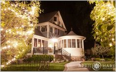 Love this nighttime shot of Tapestry House in Laporte, CO!  Eat, drink, and be married!! :) | April O'Hare Photography