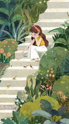 Landscaping Illustration Cartoon - - Low Maintenance Landscaping Along Fence - Art And Illustration, Illustration Mignonne, Illustrations, Landscape Illustration, Art Anime Fille, Anime Art Girl, Cartoon Wallpaper, Animal Wallpaper, Cute Wallpapers