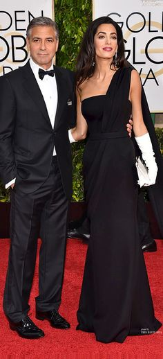 George and Amal Clooney at the #Golden #Globes 2015 - Amal in Christian Dior