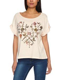 Firetrap Mellow-Heart Printed Women s T-Shirt Almond Small  Amazon.co.uk   Clothing 8da98739a