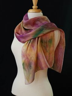 Designer Scarves Lavender Orchid Yellow Moss Green Hand Painted Silk Scarf