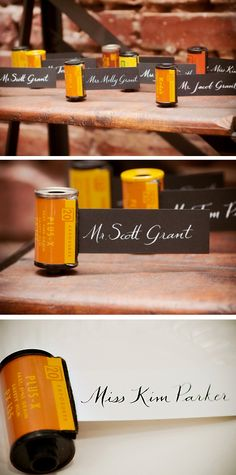 film canister name cards. #wedding