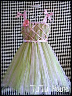 Empire Waist Pink and Green Tutu Dress with Sequin Shimmer Waistband/ Flower girl dress. pageant dress// Infant sizes 0-24 months. $45.00, via Etsy.