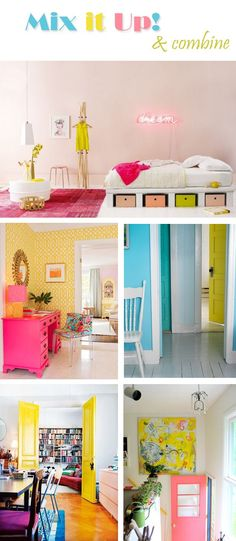 Mix It Up Neons - neon dresser, dressing table, coloured doors, bright interiors, pretty coloured draws