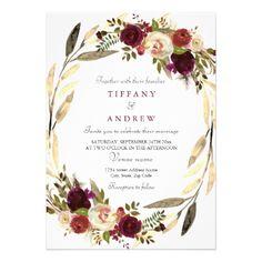 Modern Golden Floral Wreath Wedding Invitation - wedding invitations diy cyo special idea personalize card