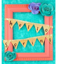 """Welcome spring into your home with this floral """"Hello Spring"""" frame wreath! 