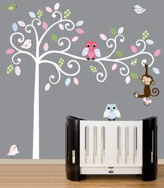 Childrens wall decal - White swirl tree - patterned leaves, birds, owls decals - on Etsy, $99.00