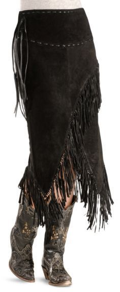 Asymmetrical Fringe Suede Leather Skirt available at #Sheplers