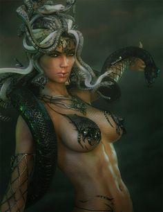 Gorgon Medusa Fantasy Art by shibashake.deviantart.com on @DeviantArt