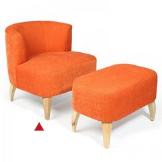 Highlight a bedroom corner or small scale living space with our retro style Nordic Chair in tangerine. Co-ordinate with a matching ottoman and light oak mid century furniture.