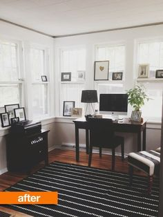 Before & After: This Hot Mess Gets a Modern Makeover - Ruthie Copeland - Before & After: This Hot Mess Gets a Modern Makeover A Sunroom Gets A Modern Makeover Sunroom Office, Home Office, Office Workspace, Small Sunroom, Office 2020, Corner Office, Apartment Living, Apartment Therapy, Chicago Apartment
