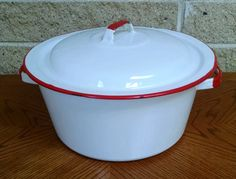 Enamelware Pot - White with Red Trim - Vintage Stock Pot Dutch Oven Soup Pot Rustic Farmhouse / Country / Cottage / Shabby Chic Cookware by ClassyVintageGlass on Etsy