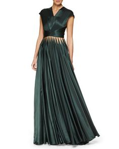 Cutout+Crisscross+Pleated+Gown+by+Zac+Posen+at+Neiman+Marcus.