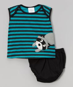 Love this Black & Teal Stripe Raccoon Tank & Bloomers - Infant by Victoria Kids on #zulily! #zulilyfinds
