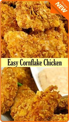 Oven-Fried Chicken with a Corn Flake Crust Baked Fried Chicken, Fried Chicken Tenders, Breaded Chicken, Cornflake Chicken Recipe, Cornflake Recipes, Fried Chicken With Cornflakes Recipe, Chicken Tender Recipes, Fried Chicken Recipes, Corn Recipes