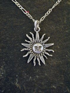 Sterling Silver Sun Pendant on a Sterling Silver Chain by peteconder on Etsy https://www.etsy.com/listing/189829968/sterling-silver-sun-pendant-on-a