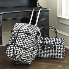 Traveling in style starts with your luggage. Some luggage is just not built for serious travelers. Our coordinating Houndstooth Rolling Duffel and Tote are ready to go wherever and whenever you are. Rolling Duffle Bag, Coq, Pillow Sale, Ballard Designs, Duffel Bag, Houndstooth, Luggage Bags, Travel Bags, Fashion Backpack